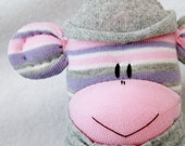 Sock Monkey Doll Pink, Purple and Grey Stripes