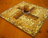 Table Topper Golden, Table Topper, Quilted Table Topper, Centerpiece