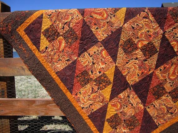 Handmade Quilt Rust, Patchwork Quilt