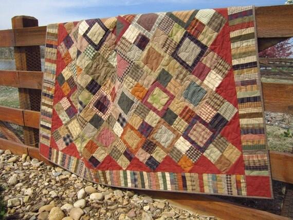 Handmade Quilt Homespun Cabin