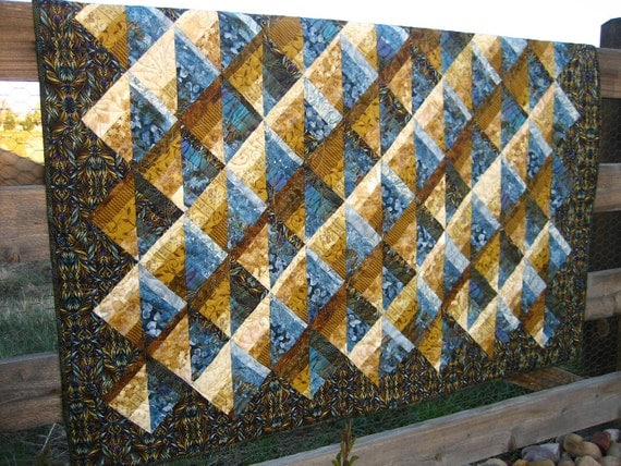 Handmade Quilt Golden Blue
