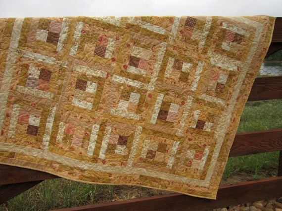 Handmade Quilt Peaches and Cream, Quilted Throw, Lap Quilts, Quilts, Patchwork Quilt