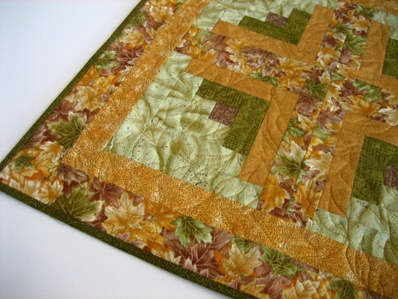 Quilted Table Topper Leaves, Centerpiece, Quilted Square, Tabletop