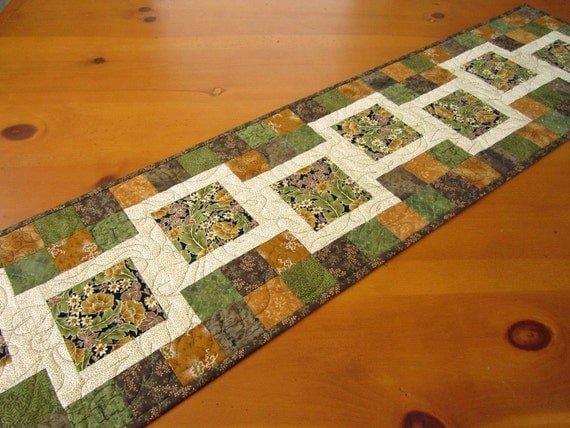 Quilted Table Runner Fall,  Table Runner, Patchwork Handmade Runner