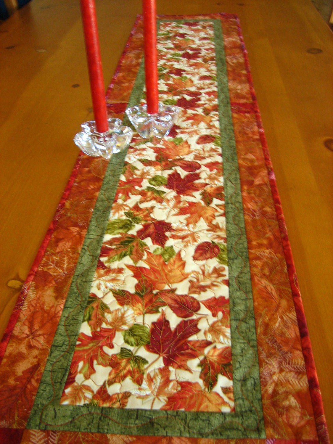Autumn Blaze Quilted Table Runner By Patchworkmountain On Etsy