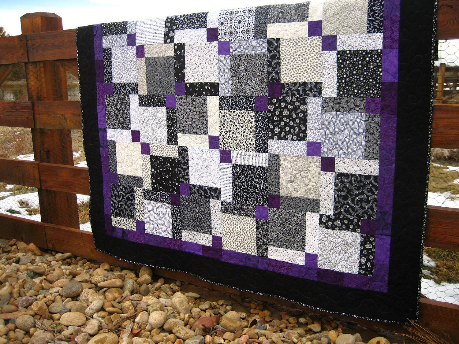 Purple And White Quilt & Black White Minky Flannel Cotton Rag ... : purple and white quilt - Adamdwight.com