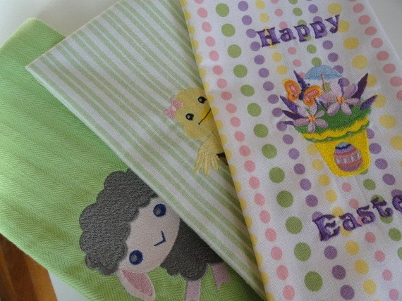 Cute embroidered Easter towel set