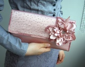Handmade Dusty Rose Romantic Clutch FREESHIPPING