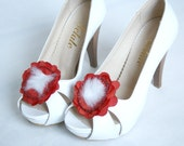 Shoe Clips Handmade Red tafetta Fabric Shoes Clips With  Glass Beady   AOD 2 PCS Valentines Day gift For Her