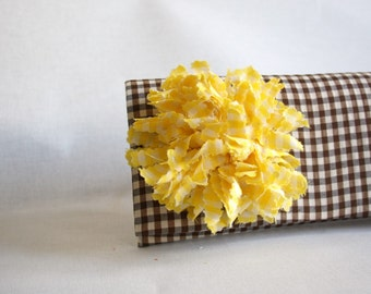 Clutch Checked Brown  Clutch with Yellow Gingham Flower Handmade
