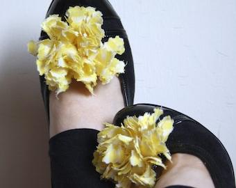 Yellow Gingham Shoe Clips 2 PCS Handmade