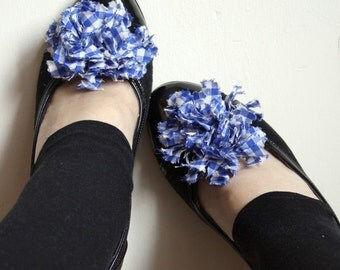Blue Gingham Shoe Clips 2 PCS Handmade