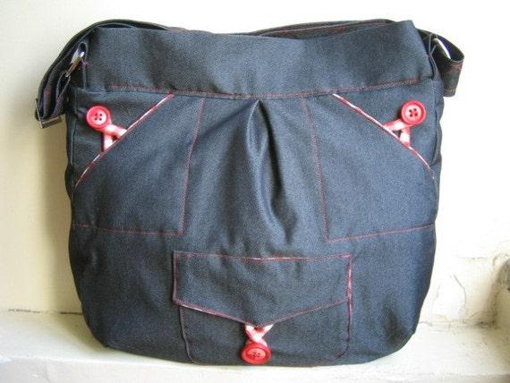 Handmade Dark Blue Everyday Tote Bag,Messenger,Purse FREE SHIPPING