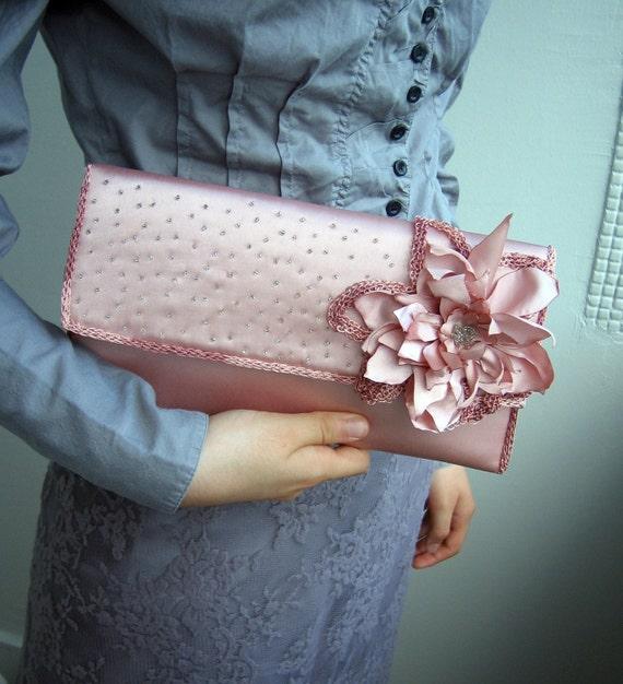 Handmade Dusty Rose Romantic Clutch FREESHIPPING