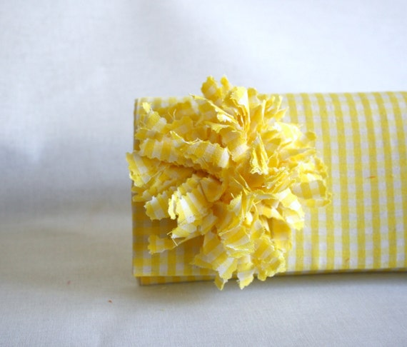 Clutch Checked Yellow  Clutch with handmade flower