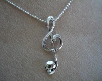 Treble Clef  Music Note Necklace, Skull, Bronze Skull Music Note,  Silver Skull Music Note, by Brendas Beading on Etsy