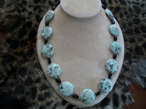Dalmatian Jasper Necklace, Large puffed round gemstones, Brendas Beading on Etsy