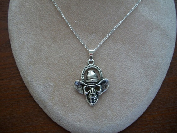 Skull Necklace, Dead Cowboy, Skull Pendant Necklace,  by Brendas Beading on Etsy