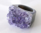 The Girl From Ipanema - Stunning Amethyst Geode Ring - Many Sizes Available