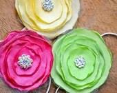Dress Up Party Favor Set of 3 Fabric Flower Headbands. Rhinestone Center. Flower Girl Wedding Photo Prop. Child/Teen size