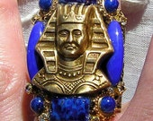 Antique Style Deco 1920s Egyptian Revival Lapis Glass Golden Tutankhamen Ring - Egyptian Jewelry - Egyptian Style Pharaoh Ring