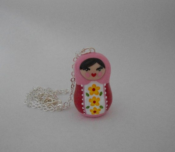Little Pink and Red Matroyshka Necklace