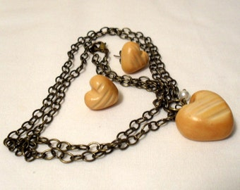 Hunger Games Inspired Team Peeta Heart Shaped Bread Loaf Necklace and Earring Set