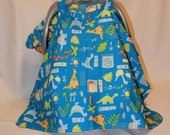 PRICE REDUCED - Car Seat Canopy/Cover in a Dinosaur and Leaf Print