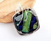 Dichroic Fused Glass Wrapped in Sterling Silver