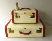 RESERVED for Kristine Vintage Luggage Suitcases Red Cream