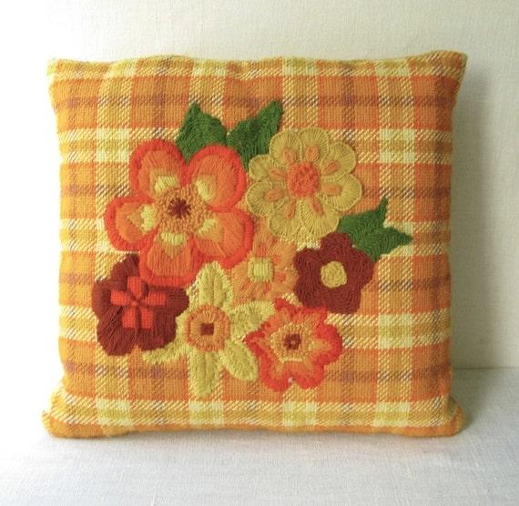 Vintage Mod Needlepoint Pillow