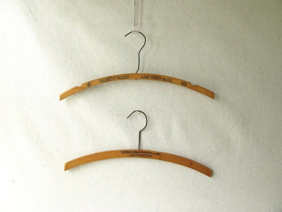 Vintage wood advertising hangers Two