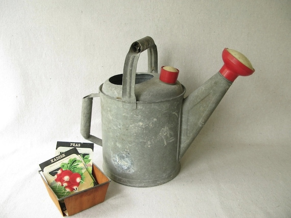 Vintage Galvanized Watering Can Red Spout