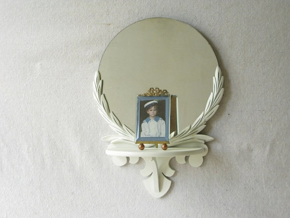Vintage Mirror Wood Shelf Carved