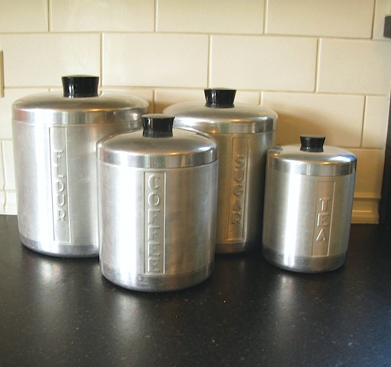 Vintage Stainless Steel Canisters