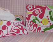 Yellow Button Purse Set Mini Wallet or Camera Case and Pocket Travel Tissue Holder