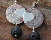 Copper and Sterling Silver Flowing Lava Bead Earrings