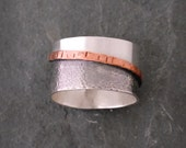 Sterling Silver and Copper Smooth Tri-Colored Band Ring, JewelryByNaomi, Mixed Metal Rings, Textured Bands, Band Rings, Copper Rings