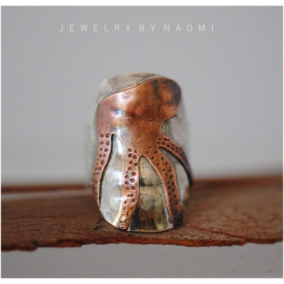 Sterling Silver and Copper Abstract Octopus Ring