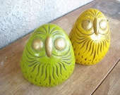 Pair of Vintage Chalkware Owls from the 70s