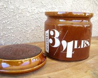 Vintage Aramis Bath Salts 3/4 Lb Brown Stoneware Crock w