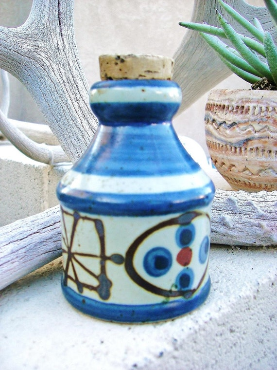 1970s Paul Marshall Pottery Corked Blue and White Jar with bonus
