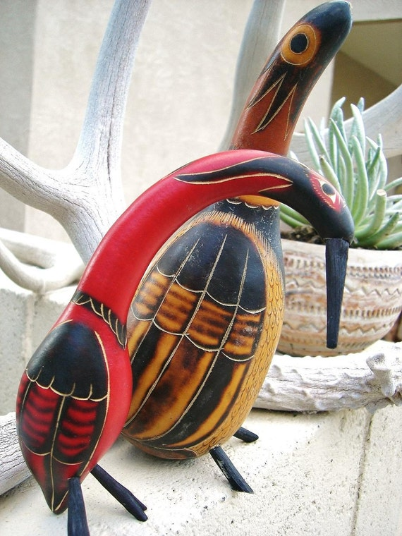 Pair of Brightly Colored Vintage Gourd Birds