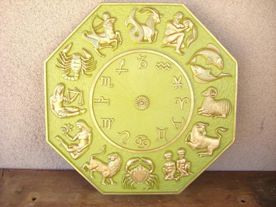 Vintage Upcycled  Octagonal Zodiac Plaque