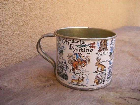 Vintage Souvenir Tin Cup from Wyoming