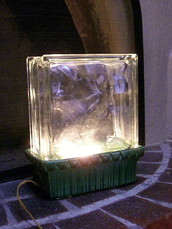 Vintage Glass Block Accent Lamp