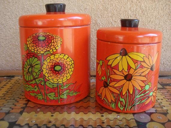 Vintage Orange Flower Canister Set-Ransburg