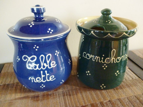 Pair of French Pottery Canisters