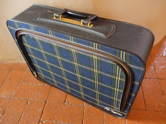 Vintage Blue Plaid Air Cruiser Suitcase