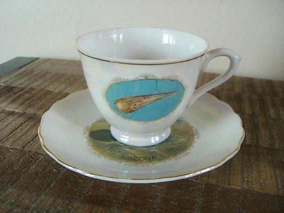 Vintage Souvenir Cup and Saucer from Arizona's Meteor Crater